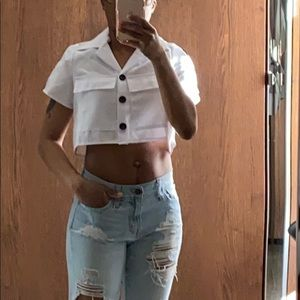 Crop top with double breast pockets